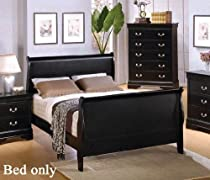 Big Sale Coaster Queen Size Sleigh Bed Louis Philippe Style in Black Finish