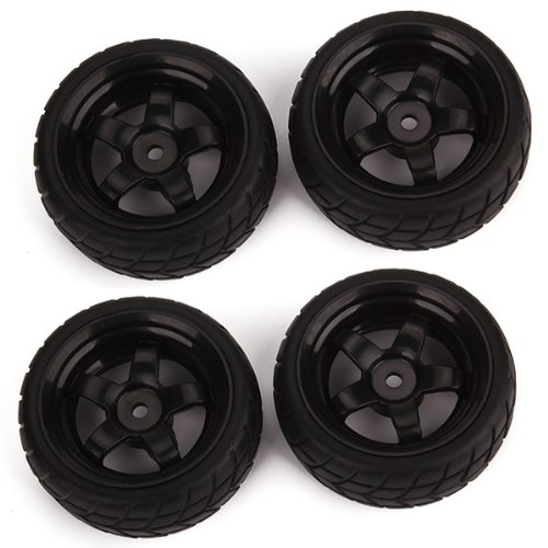 Black RC 1: 10 Flat Car 12mm Hub Wheel Rims 5 Spoke + Rubber Tires Pack of 4