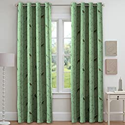 FlamingoP Printed Pair(2 Panels) Soft Microfiber Room Darkening Thermal Insulated & Heating Against Grommet Top Blackout Country Turquoise Birds Curtains/Drapers 96 by 52 inch