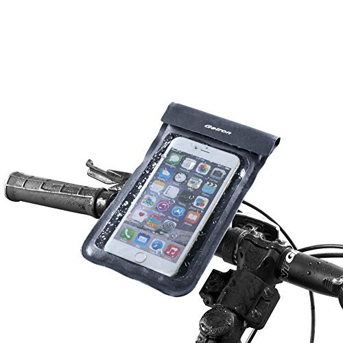 Bike Mount, Getron® Universal Bicycle Smart Phone Waterproof Pouch Holster Mount Holder for Cell Phones up to 6 Inches Display, Supports iPhone 6s Plus, 6s, Galaxy S7, Note 5, LG, Nexus, Garmin -Gray