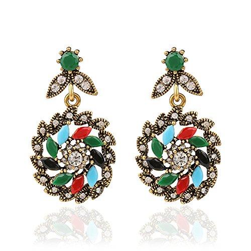 [Lemonstraw Colorful Gemstone Earrings folk style retro hollow rotary Flower Earrings] (India National Costume For Male Kids)