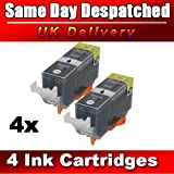 4 Black Compatible CLI521, PGI520, Printing Ink - WITH CHIP - Multipack Set of 5 Compatible Printer Ink Cartridges for CANON PIXMA iP3600, iP4600, iP4700, MP540, MP550, MP560, MP620, MP630, MP640, MP980, MP990, MX860, MX870 Printer Inks PGI 520BK, CLI 52