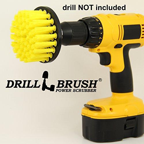 4 Inch Long Bristle Yellow Medium Scrub Brush Fits Electric Drill