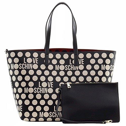 Love Moschino Shopping Shoulder Bag Double Pvc Black Pois White