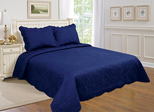 All for You 3-piece Reversible Bedspread/ Coverlet / Quilt Set with embroideries (navy, Larger king with king size pillow shams, King, California King) (Blue King Size Quilt compare prices)