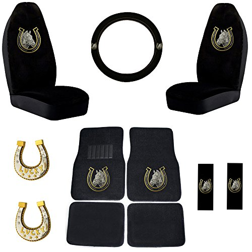 White Horse with Golden Horse Shoe Gem Crystal Studded Rhinestone Bling Car Truck SUV Floor Mats, Seat Covers, Steering Wheel Cover and Seatbelt Pads and Lucky Stars Horseshoes - Combo Gift Set - 11PC (Seat Covers Horses compare prices)