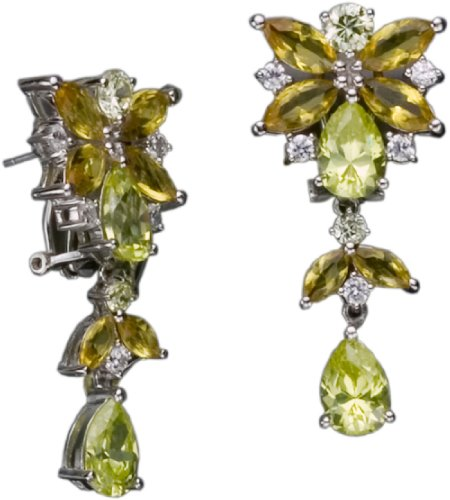 C.Z. Lime And Yellow (.925) S/S Earring (Nice Holiday Gift, Special Black Firday Sale)