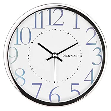 DecoMates Non-Ticking Silent Wall Clock - Metallic Shimmer (White)