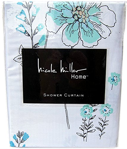 Nicole Miller Botanical Nature Cotton Shower Curtain Floral Branches Design Poppy Seed Grey White Turquoise Gray 72 Inch By