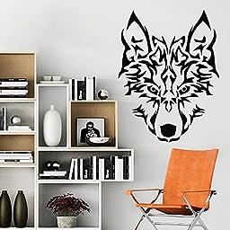 MairGwall Wolf Head Vinyl Wall Decal Art Wall Poster Graphics Sticker (Black, Medium)