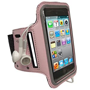 iGadgitz Pink Reflective Anti-Slip Neoprene Sports Gym Jogging Armband for Apple iPod Touch 2nd, 3rd & 4th Generation 8gb, 16gb, 32gb & 64gb