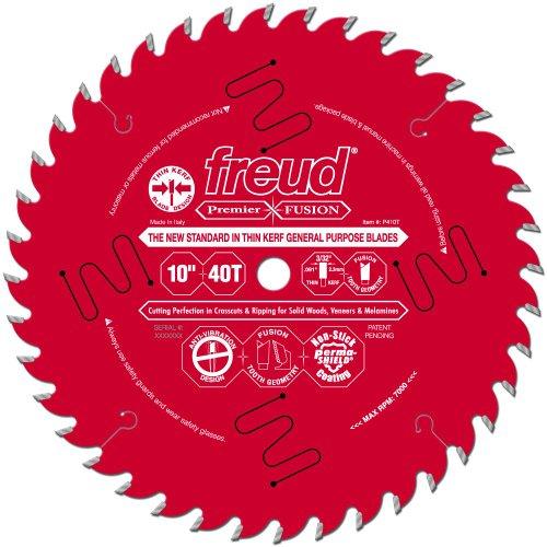 Freud P410T 10-Inch by 40-Teeth 30-Degree Hi-ATB Premier Fusion Thin Kerf Saw Blade 5/8-Inch Arbor