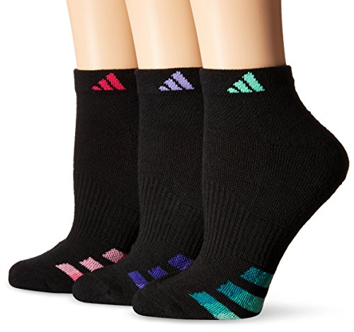 Adidas Women's Cushioned Low Cut Socks (3 Pack), Black/Light Flash Purple/Green Glow/Bold Pink, One Size
