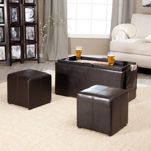 Hartley Coffee Table Storage Ottoman with Tray - Side Ottomans & Side Pocket Color-Size - 35.5L x 18W x 18H in. - Dark Brown