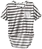 Pinc Premium Girls 7-16 Short Sleeve Dolman, Black Stripe, Large