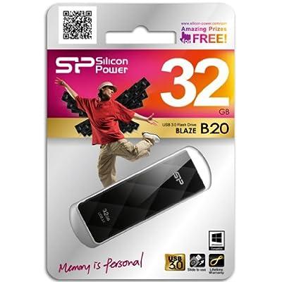 Silicon Power Blaze B20 32 GB Entry Level USB 3.0 Flash Drive Read/Write 55/15 MB/s (Black)