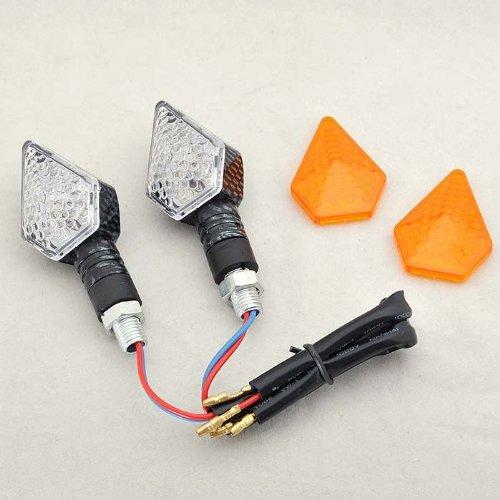 Wotefusi 2 X Motorcycle Led Turn Signal Indicator Light Blinkers White & Amber 12V Super Bright And Long Lasting Universal