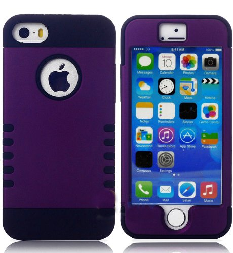 Mylife (Tm) Plum Purple + Black Shield 3 Layer (Hybrid Flex Gel) Grip Case For New Apple Iphone 5C Touch Phone (External 2 Piece Full Body Defender Armor Rubberized Shell + Internal Gel Fit Silicone Flex Protector)