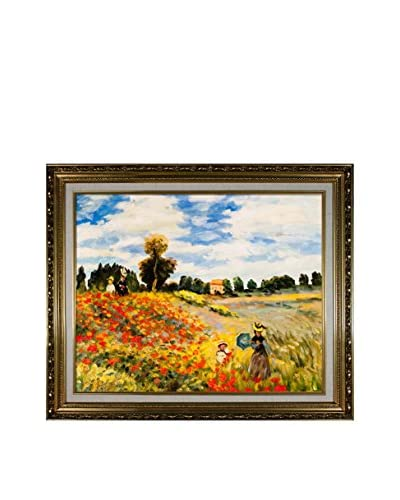 """Claude Monet's Poppy Field Framed Hand Painted Oil On Canvas, Multi, 21"""" x 25"""""""