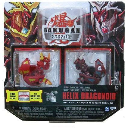 Bakugan Gundalian Invaders EXCLUSIVE Evil Twin Pack (Red) Pyrus HELIX DRAGONOID w/DNA CODE {SET OF 2}