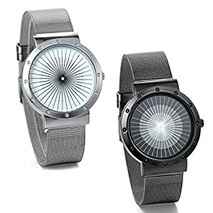 JewelryWe Lot of 2 Wholesale Mens Watches Ultra Thin Stainless Steel Mesh Wristwatch Silver Black