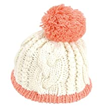 Soft Cable Knit Color Blocked Beanie Pom-Pom Bobble Piper women winter Hat (white)