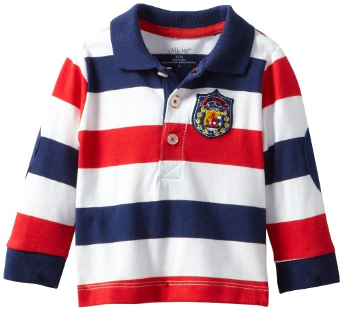 Little Me Baby-Boys Infant Nautical Polo Set, Denim, 18 Months front-946310