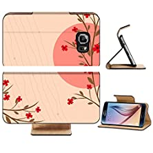 buy Samsung Galaxy S6 Flip Wallet Case Liili Premium Branch Of A Plant The Japanese Style Background Image Id 17823093