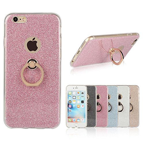 iPhone SE Case, 5S Case Ranrou TPU Soft Sparkle Powder Back Cover with 360 Degree Rotating Ring Stent for iPhone SE/5S/5 (Pink)