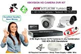 Hikvision-4-Channel-HD-TVI-DVR-1-Bullet-1-Dome-(720p)-Cameras-(With-Cable,Power-Supply,Connectors)