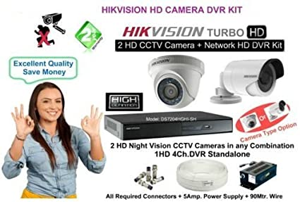 Hikvision 4 Channel HD-TVI DVR 1 Bullet 1 Dome (720p) Cameras (With Cable,Power Supply,Connectors)