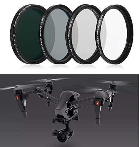Complete Filter Set for DJI Zenmuse X5 X5R Camera and 3-Axis Gimbal with Inspire 1 PRO, RAW Quadcopter - Kit Includes: MRC UV, Polarizer, Neutral Density ND16, Variable ND Filter ND2 to ND400 Filters (Singh Ray Variable Nd Filter compare prices)