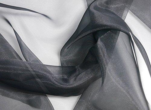 コスモテキスタイル オーガンジー 無地 生地 ポリエステル100% 約122cm巾×1mカット col.300 ブラック DDD391