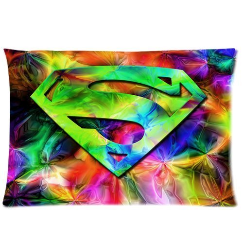 Butuku Colorful Superman Metal Like S Shaped Logo Dc Cartoon Superhero Custom Personalized Roomy Zippered Pillow Case 30X20 (One Side) front-708277