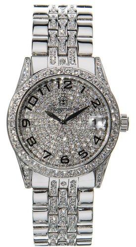 Burgmeister Diamond Star Bm119-890 Gents Quartz Analogue Wristwatch  Platin Silver Swarovski Date