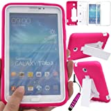 GLITZY GIZMOS HOT PINK SHOCK PROOF BUILDERS HEAVY DUTY TOUGH CASE COVER FOR SAMSUNG GALAXY TAB 3 7.0 inch (P3200 / P3210 / SM-T210 / SM-T211 / SM-T215) LTE WIFI 7