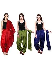 Mango People Products Combo Of Red,Mehandi,& ROYAL Blue Colour 3 Indian Readymade Patiala Salwar Dupatta Set.