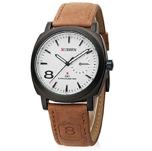 DAYAN Chronometer Quartz-Mode-Uhr mit Lederband - weißes Zifferblatt