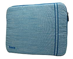 Saco Washable Fabric Laptop Notebook Ultrabook Sleeve Bag Zipper Case with accessories adapter pocket suitable for Acer Aspire R7-572G (NX.M95SI.001) Laptop - 15.6 inch - Blue