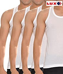 Lux Cozi White Mens Sleevless vest pack of 5 (Large)