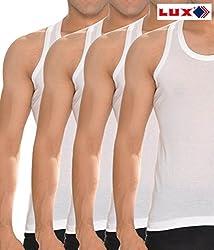 Lux Cozi White Mens Sleevless vest pack of 5 (Large)