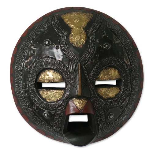 NOVICA Protection Decorative Mask Sese Wood, Brass and Aluminum Wall Art, Black 'Sign Of Protection'