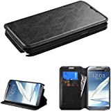 Galaxy Note 2 Case, E-Time(TM) Samsung Galaxy Note 2 Fashionable Premium Leather Protective Flip Cover and Card Holder Case Wallet Pouch (Free E-Time Brand Stylus Pen Included) (BLACK)