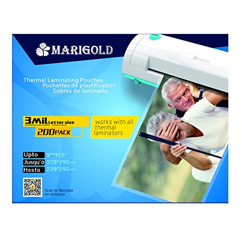 Marigold-200-Pack-Count-3-mil-Letter-Size-9x115-Thermal-Laminating-Pouches-Laminator-Film-Sheets-TLP3LTR