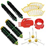 SHP-ZONE Brush Cleaning Tools & Bristle Brush & Flexible Beater Brush & Side Brush 3 Armed & Filters Pack Mega Kit for iRobot Roomba 500 Series Roomba 510, 530, 535, 540, 560, 570, 580, 610 Vacuum Cleaning Robots all Green, Red, Black cleaning head