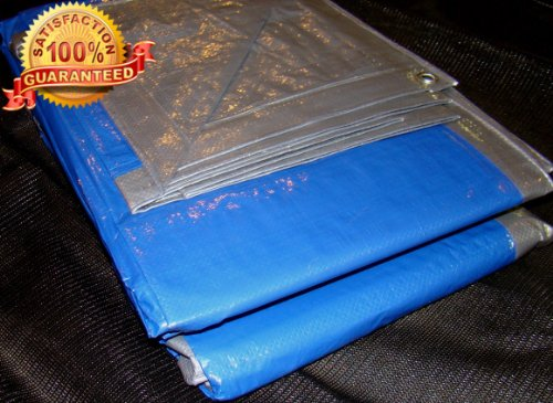 New Tarps 10x14 Thermal Garden Farm Tarp Silver Blue Canopy UV Treated Cover Poly Roofing Tarp 10'x14' Warehouse protection, dust cover, shipping , pallet security, Wholesale Price 10 by 14 foot