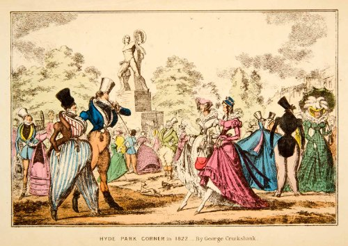 1872 Chromolithograph Hyde Park London Royal Speaker Corner George Cruikshank - Original Chromolithograph