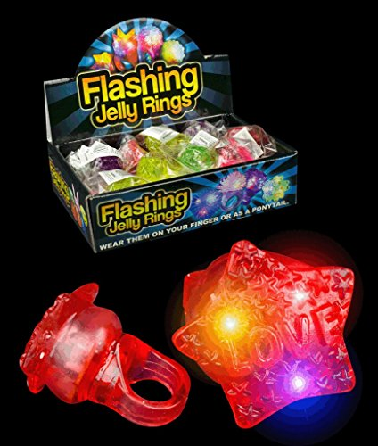 Led Flashing Jelly Star Rings - Assorted 24Ct Light Up