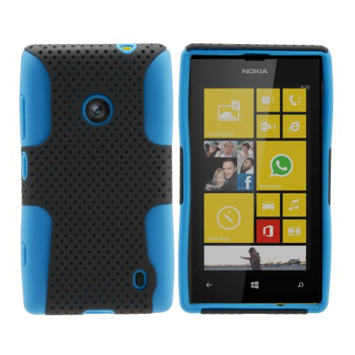 Miniturtle, Premium 2 In 1 Double Layer Perforated Hard Hybrid Phone Case Cover, Clear Screen Protector Film, And Stylus Pen For Windows 8 Smartphone Nokia Lumia 520 /At&T (Black / Blue)