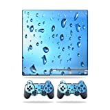 Mightyskins Protective Vinyl Skin Decal Cover for Sony Playstation 3 PS3 Slim skins + 2 Controller skins Sticker Water Droplets